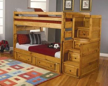 Made in USA Wrangle Hill Amber Wash Twin-Over-Twin Bunk Bed