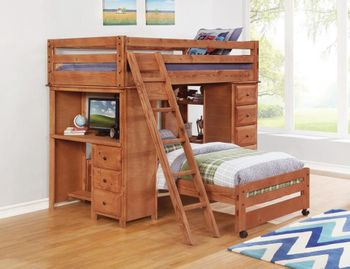 Made in USA Wrangle Hill Twin-Over-Full Loft Bed With Desk