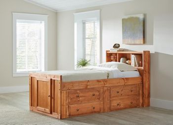 Made in USA Wrangle Hill Twin Storage Bed Amber Wash