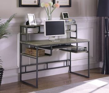 Mandy Computer Desk With Keyboard Tray Weathered Taupe And Gunmetal