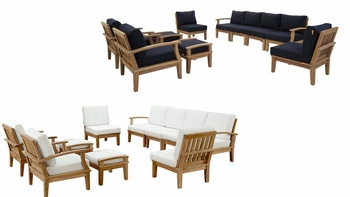 MARINA 10 PIECE OUTDOOR PATIO TEAK SET IN NATURAL