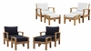 MARINA 4 PIECE OUTDOOR PATIO TEAK SET IN NATURAL