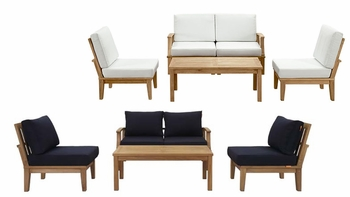 MARINA 5 PIECE OUTDOOR PATIO TEAK SET IN NATURAL