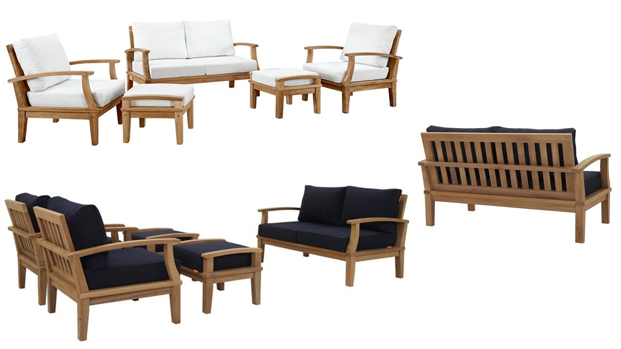Awe Inspiring Patio Armchairs Wooden Sofa Patio Teak Arm Chair Ottoman Pabps2019 Chair Design Images Pabps2019Com