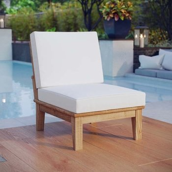 MARINA ARMLESS OUTDOOR PATIO TEAK CHAIR IN NATURAL WHITE