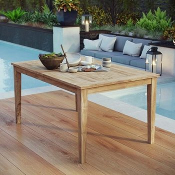 "MARINA OUTDOOR PATIO TEAK 60"" DINING TABLE IN NATURAL"