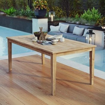"MARINA OUTDOOR PATIO TEAK 72"" DINING TABLE IN NATURAL"