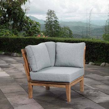 MARINA OUTDOOR PATIO TEAK CORNER SOFA 1146 IN NATURAL