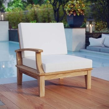 MARINA OUTDOOR PATIO TEAK LEFT-FACING CHAIR IN NATURAL WHITE