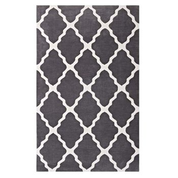 MARJA MOROCCAN 1003C TRELLIS 5X8 AREA RUG IN CHARCOAL AND IVORY