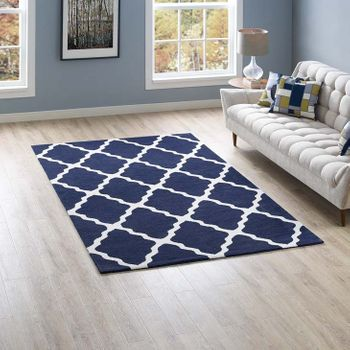 MARJA MOROCCAN 1003A TRELLIS 5X8 AREA RUG IN NAVY AND IVORY