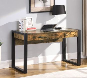 Maysair 2-Drawer Writing Desk Antique Nutmeg And Black