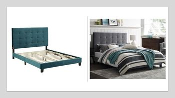 Melanie Queen Tufted Button Upholstered Performance Velvet Platform Bed