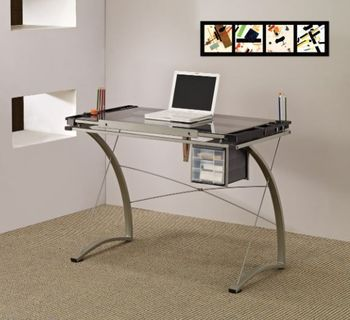 Melo Drafting Desk With 3-Drawer Champagne