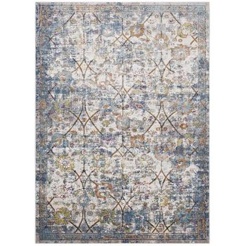 MINU DISTRESSED FLORAL LATTICE 4X6 AREA 1091A RUG IN LIGHT BLUE, YELLOW AND ORANGE