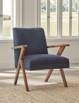 Monrovia Wooden Arms Accent Chair Dark Blue And Walnut