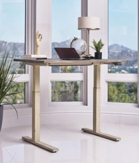 Myers 805480 Adjustable Height Standing Desk Weathered Pine And Antique Ivory
