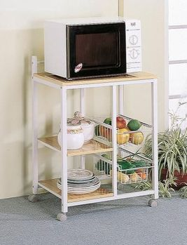 Natural Brown And White Casual Kitchen Cart # 2506