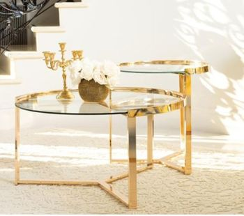 2-Piece Round Nesting Table Clear And Gold # 930251