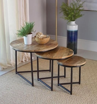 3-Piece Triangle Base Nesting Table Natural And Matte Black # 931202