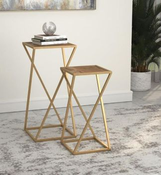 2-Piece Square Nesting Table Weathered Natural And Gold # 931232
