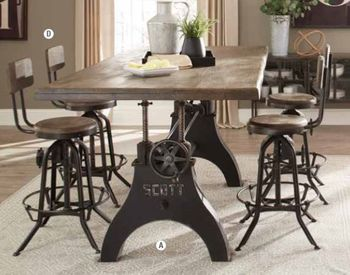 5PC Clooney Adjustable Dining Table with chairs Collection