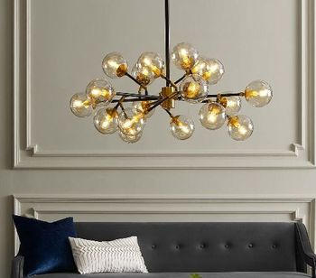 Sparkle Amber Glass And Antique Brass 18 Light Mid-Century Pendant Chandelier