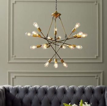 Request Antique Brass 18 Light Mid-Century Pendant Chandelier