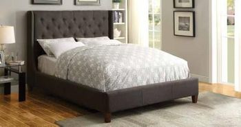 Floor Model Queen Upholstered Bed with Button Tufting