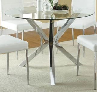 Floor model Vance Contemporary Glass-Top Dining Table with Unique Chrome Base