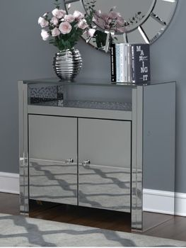 2-Door Accent Cabinet Clear Mirror And Silver
