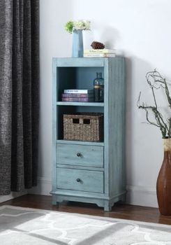 2-Drawer Accent Cabinet With Woven Basket Blue