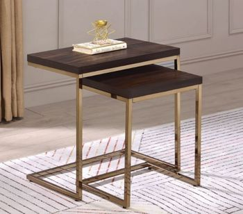2-Piece Nesting Table Chestnut And Chocolate Chrome