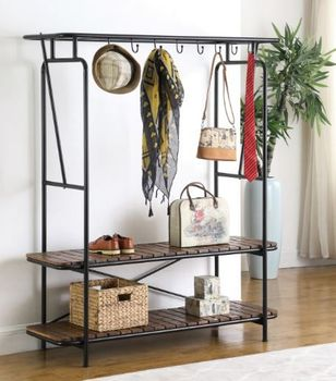 8-Coat Hooks Clothes With Shoe Rack Tobacco And Black