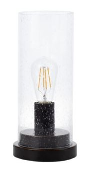 Cylindrical 1-Light Table Lamp Bronze And Clear