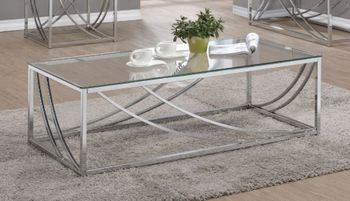 Glass Top Rectangular Coffee Table Accents Chrome