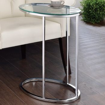 Floor Model Oval Snack Table Chrome and Clear # 902927