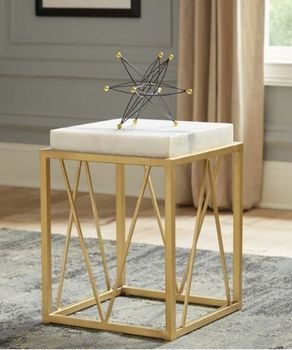 Floor model real marble Square Accent Table White And Gold