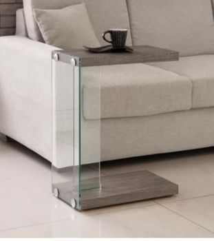Floor Model Accent Table Weathered Grey And Clear
