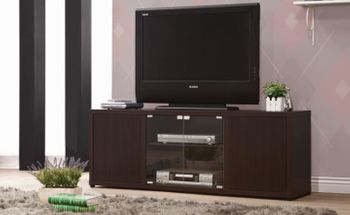 Rectangular TV Console With Magnetic-Push Doors Cappuccino