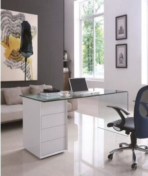 8762 Desk White Glass Office Furniture