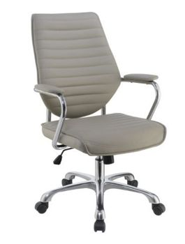 Floor Model High Back Office Chair Taupe And Chrome