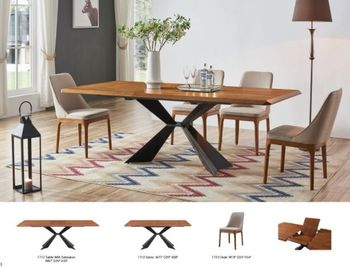 5PC 1712 Dining Table with 1711 Chairs