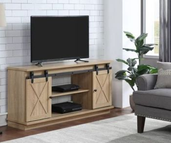 TV Stand (Optional Fireplace) Farmhouse TV Stands