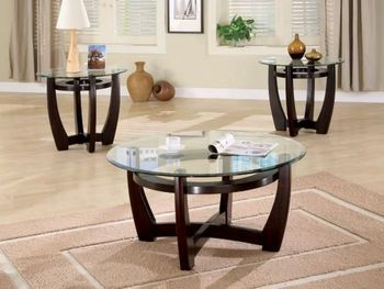 Floor model 3 PC Occasional Table Set with Glass Tops
