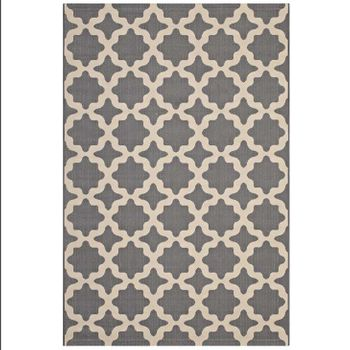 CERELIA MOROCCAN TRELLIS 8X10 INDOOR AND OUTDOOR AREA RUG IN GRAY AND BEIGE