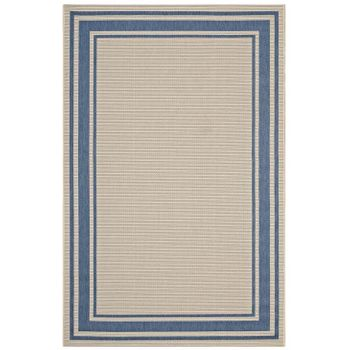 RIM SOLID BORDER BORDERLINE 8X10 INDOOR AND OUTDOOR AREA RUG IN BLUE AND BEIGE