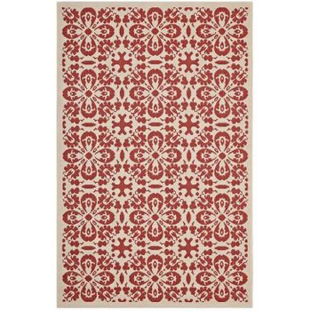 ARIANA VINTAGE FLORAL TRELLIS 8X10 INDOOR AND OUTDOOR AREA RUG IN RED AND BEIGE