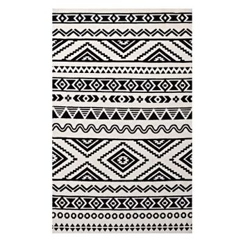 HAKU GEOMETRIC MOROCCAN TRIBAL 5X8 AREA RUG IN BLACK AND WHITE