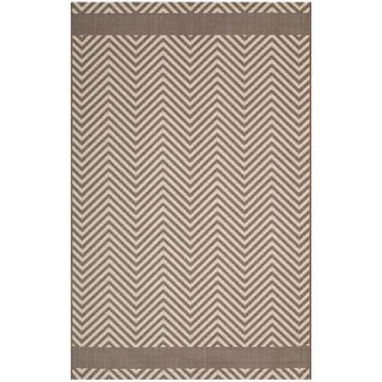 OPTICA CHEVRON WITH END BORDERS 8X10 INDOOR AND OUTDOOR AREA RUG IN LIGHT AND DARK BEIGE